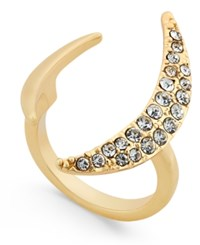 Abs By Allen Schwartz Gold Tone Dark Horse Pave Crescent Ring