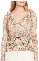 Lauren Ralph Lauren Plus Size Women's Paisley Print V Neck Sweater
