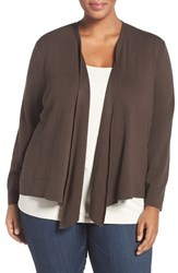 Nic Zoe Plus Size Women's '4 Way' Three Quarter Sleeve Convertible Cardigan River Rock