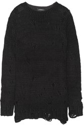 R 13 R13 Distressed Knitted Sweater Black