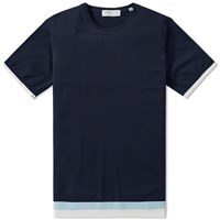 Tomorrowland Stripe Hem Knitted Tee Blue