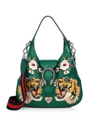 Gucci Dionysus Small Embroidered Leather Hobo Bag Green Multi