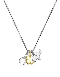 Alex Woo Mini Cluster 14K Yellow Gold And Sterling Silver Good Luck Charm Necklace Silver Gold