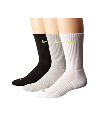 Nike 3 Pair Pack Dri Fit Cushion Crew Grey Heather Volt Black Volt White Volt Crew Cut Socks Shoes
