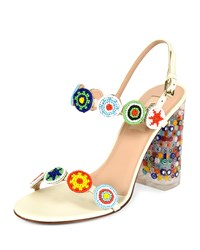 Beaded Leather Sandal With Floral Lucite Heel Light Ivory Valentino Lt Ivory
