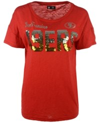 G3 Sports Women's San Francisco 49Ers In The Game Sequin T Shirt Red