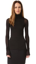Rick Owens Long Sleeve Mock Neck Top Black