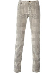 Jacob Cohen Plaid Straight Leg Trousers Nude And Neutrals