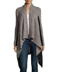 Line Two Tone Nubby Knit Cardigan Charcoal Black