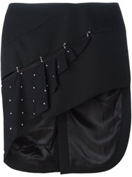 Anthony Vaccarello Studded Asymmetric Skirt Black