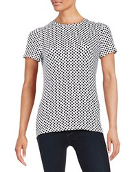 Lord And Taylor Petite Patterned Stretch Cotton Tee Black