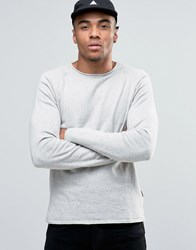 Jack And Jones Knitted Crew With Raw Neck Grey