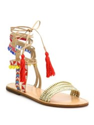 Schutz Lannister Embroidered Lace Up Festival Sandals Gold Multi