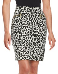 Michael Michael Kors Petite Animal Print Pencil Skirt White Black