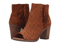 Toms Majorca Peep Toe Bootie Cinnamon Suede Perforated Fringe Women's Toe Open Shoes Brown