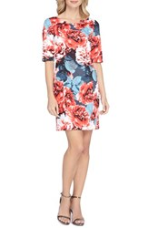 Tahari Women's Floral Print Scuba Sheath Dress