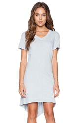 Wilt Slub Jersey Shrunken V Neck Tee Dress Blue