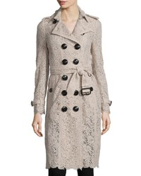 Burberry Crocheted Lace Slim Fit Trenchcoat Antique Pink