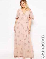 Asos Curve Flutter Sleeve Maxi Dress With Pretty Lurex Flower Multi