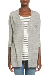 Lush Button Front Knit Tunic Heather Grey