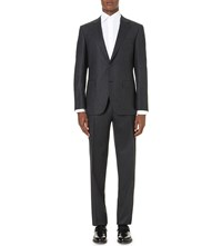 Canali Regular Fit Single Breasted Pinstripe Wool Suit Charcoal