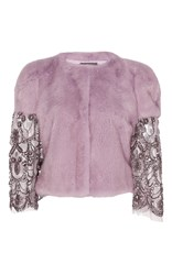 Monique Lhuillier Metallic Mink Jacket With Beaded Sleeves Purple