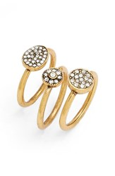 Treasure And Bond Women's Pave Crystal Rings Set Of 3