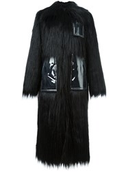 Maison Martin Margiela Mm6 Faux Fur Long Coat Black
