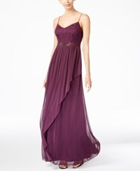 Adrianna Papell Spaghetti Strap Lace Gown Currant