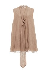 Hensely Micro Front Tie Dress Tan