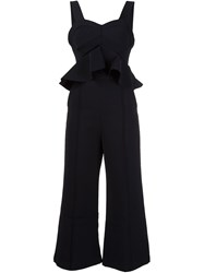 Self Portrait Peplum Flared Jumpsuit Black