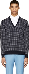 Alexander Mcqueen Navy And White Polka Dot Sweater