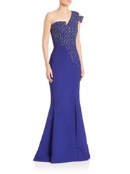 Antonio Berardi One Shoulder Embellished Gown Electric Blue
