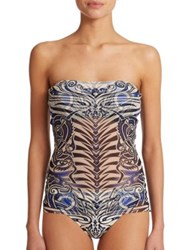 Jean Paul Gaultier Tattoo Print Bandeau Two Piece Tankini Multi