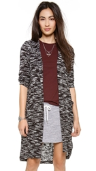 Splendid Carlow Loose Knit Hooded Cardigan White Black