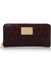 Michael Michael Kors Embossed Faux Patent Leather Continental Wallet Red