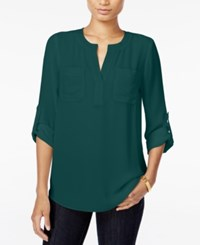 Maison Jules Roll Tab Sleeve Blouse Only At Macy's Dark Green