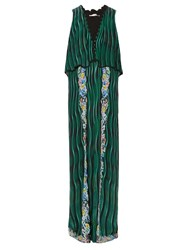 Mary Katrantzou Fairburn Snuffbox Print Silk Maxi Dress Green Multi