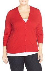 Sejour Plus Size Women's V Neck Cardigan Red Bloom