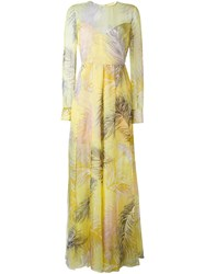 Emilio Pucci Feathers Print Dress Yellow And Orange