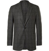 Dunhill Grey Slim Fit Fitzrovia Checked Wool Blazer Gray