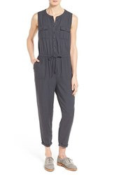 Women's Caslon Sleeveless Utility Jumpsuit Grey Ebony