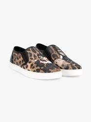Dolce And Gabbana London Designer Patch Leopard Print Sneakers Leopard Multi Coloured White Black Denim