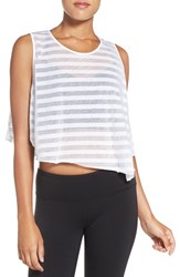 Alo Yoga Women's Shadow Stripe Crop Tank White Stripe White
