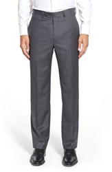 Men's Santorelli Flat Front Check Wool Trousers