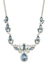 Givenchy Pave Crystal Teardrop Pendant And Cluster Necklace Metallic