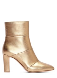 Gianvito Rossi Brandy Metallic Heeled Ankle Boots Gold