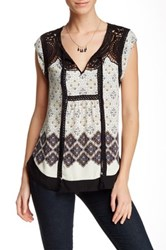 Daniel Rainn Crochet Yoke Border Print Cap Sleeve Blouse Multi
