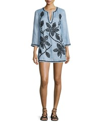 Tory Burch 3 4 Sleeve Embroidered Tunic Blue Lupine