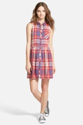 Hinge Sleeveless Plaid Shirtdress Red